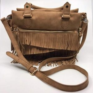 Handbags - FRINGE SHOULDER  BAG BROWN